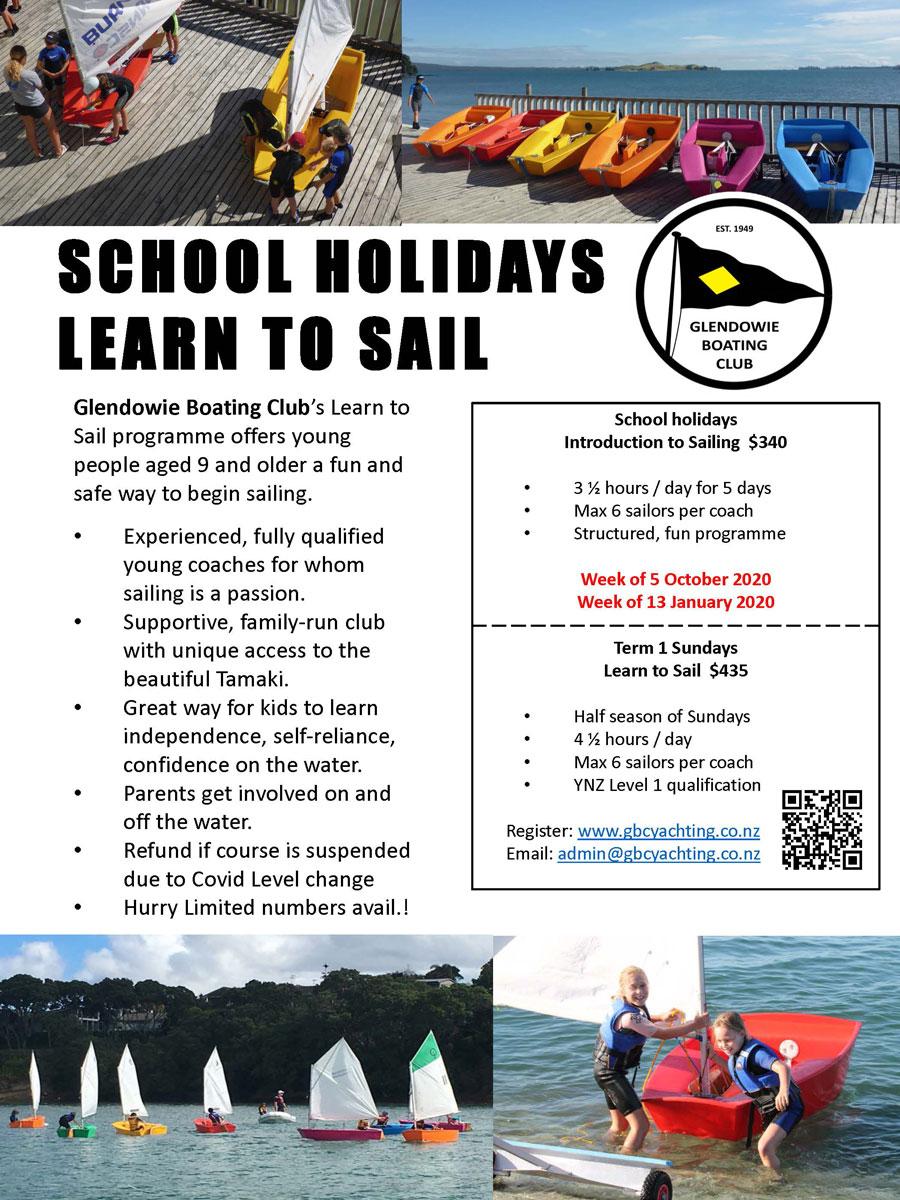 SCHOOL HOLIDAYS LEARN TO SAIL – Glendowie Boating Club
