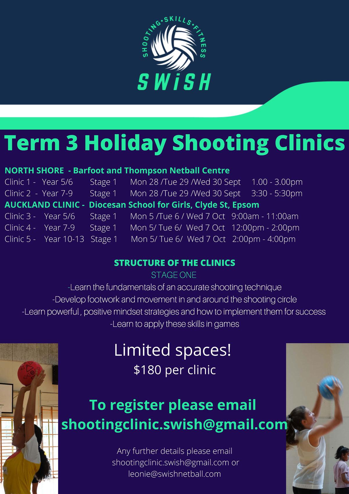 SWISH – Term 3 Holiday Shooting Clinics